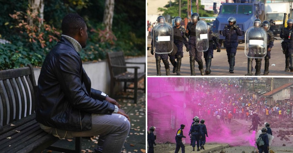 Picture of Congolese refugee Mosantu Ilunga (not real name) and civil unrest in the Democratic Republic of the Congo
