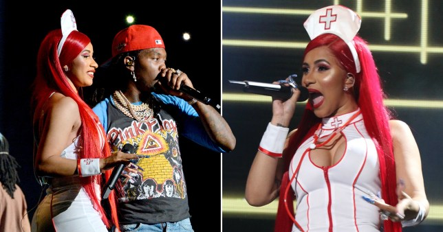 Cardi B takes care of audience in sexy nurse Halloween outfit as she takes the stage with husband Offset