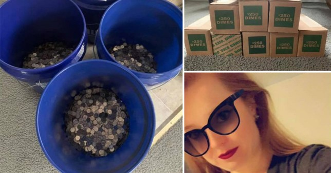 Coins in buckets next to woman who divorced her cheating husband