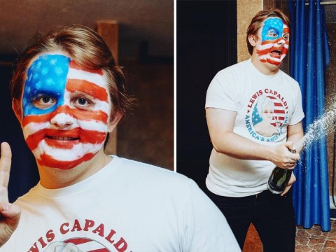 Lewis Capaldi celebrates US number one in the most wholesome way and yes, it involves face paint