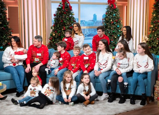 Editorial use only Mandatory Credit: Photo by Ken McKay/ITV/REX/Shutterstock (10016962ah) Eamonn Holmes and Ruth Langsford with The Radfords - Sue and Noel Radford 'This Morning' TV show, London, UK - 07 Dec 2018 THE RADFORDS: 21 CHILDREN THIS CHRISTMAS (& THEN THAT?S IT!) With just 18 days to go? are you panicked about your Christmas shopping? Spare a thought for the Radfords. They?re Britain?s biggest brood having just welcomed their 21st child: a baby girl, called Bonnie Raye. Sue and Noel Radford say their latest addition is their last (although we?ve heard that before...) and they join us alongside their bouncing baby and their other sons, daughters and grandchildren as they plan their biggest and best Christmas ever!