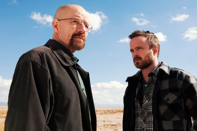 Breaking Bad with Bryan Cranston as Walter White and Aaron Paul as Jesse Pinkman.