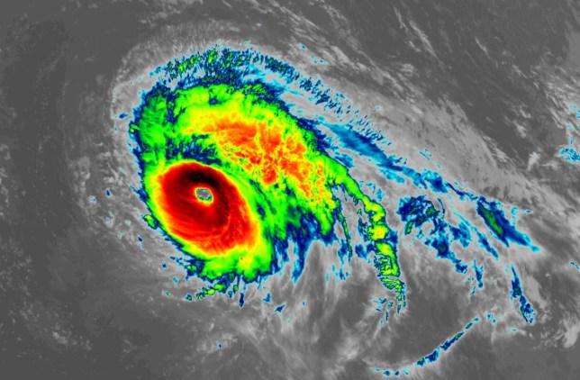 A satellite image showing the path of Hurricane Lorenzo
