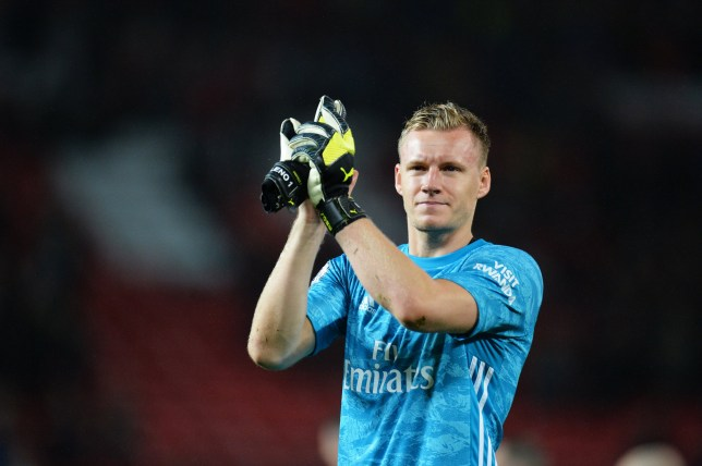 epa07883639 Arsenal's goalkeeper Bernd Leno applauds fans at the end of the English Premier League soccer match between Manchester United and Arsenal London in Manchester, Britain, 30 September 2019. EPA/PETER POWELL EDITORIAL USE ONLY. No use with unauthorized audio, video, data, fixture lists, club/league logos or 'live' services. Online in-match use limited to 120 images, no video emulation. No use in betting, games or single club/league/player publications