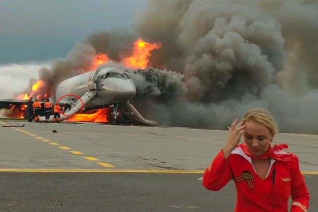Hero air steward threw passengers out of burning plane when they stopped to get luggage