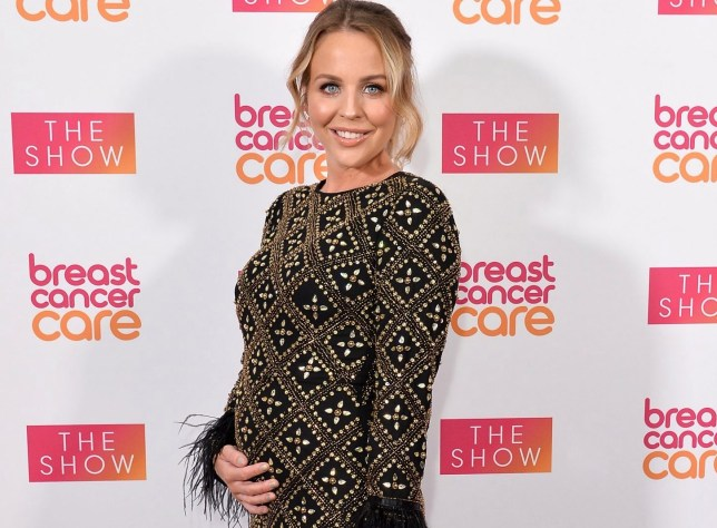 Pregnant Lydia Bright attends the Breast Cancer Care London Fashion Show