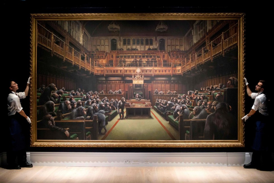 Banksy's painting depicting the British parliament populated by chimpanzees is called 'Devolved Parliament'