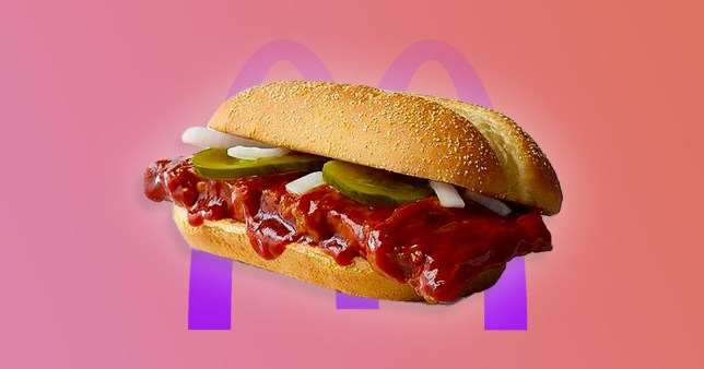 The McRib is on a pink background with the McDonald's logo in the background
