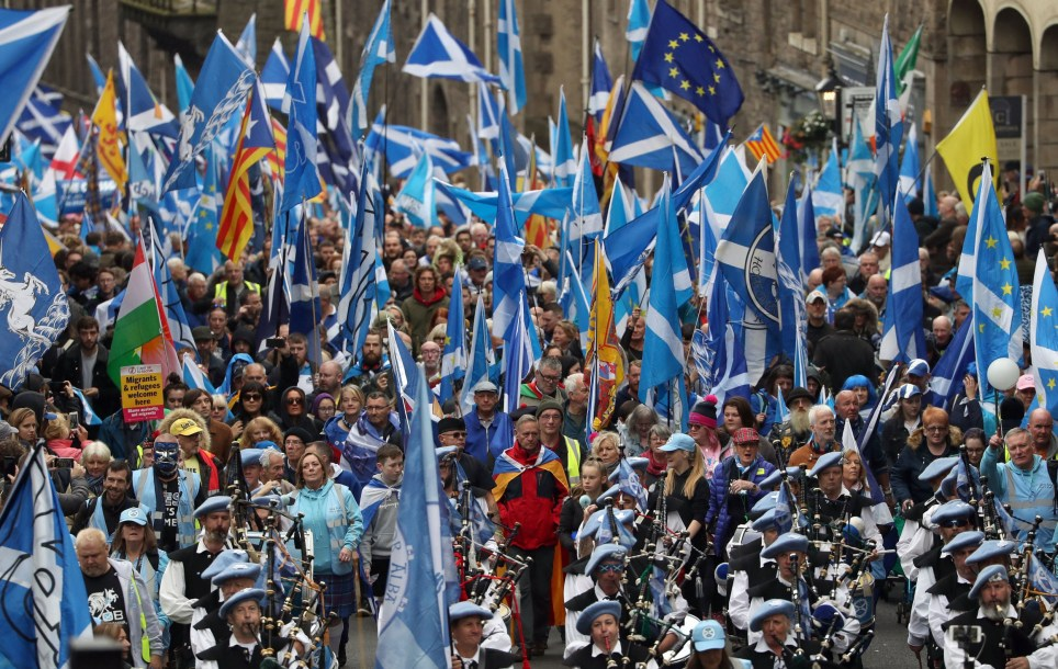 Scottish independence supporters march through Edinburgh during an All Under One Banner march. PA Photo. Picture date: Saturday October 5, 2019. Photo credit should read: Andrew Milligan/PA Wire