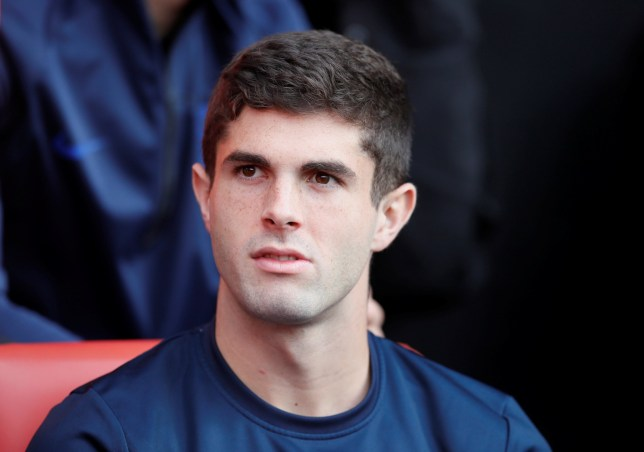 Christian Pulisic sitting on the Chelsea bench against Southampton