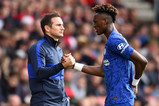 Frank Lampard shakes hands with Tammy Abraham during Chelsea's win against Southampton