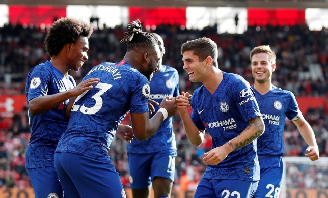 "Soccer Football - Premier League - Southampton v Chelsea - St Mary's Stadium, Southampton, Britain - October 6, 2019 Chelsea's Michy Batshuayi celebrates scoring their fourth goal with Christian Pulisic and team mates REUTERS/David Klein EDITORIAL USE ONLY. No use with unauthorized audio, video, data, fixture lists, club/league logos or ""live"" services. Online in-match use limited to 75 images, no video emulation. No use in betting, games or single club/league/player publications. Please contact your account representative for further details."