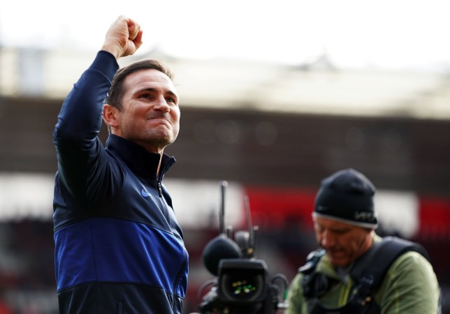 "Chelsea manager Frank Lampard celebrates victory after the Premier League match at St Mary's Stadium, Southampton. PA Photo. Picture date: Sunday October 6, 2019. See PA story SOCCER Southampton. Photo credit should read: John Walton/PA Wire. RESTRICTIONS: EDITORIAL USE ONLY No use with unauthorised audio, video, data, fixture lists, club/league logos or ""live"" services. Online in-match use limited to 120 images, no video emulation. No use in betting, games or single club/league/player publications."