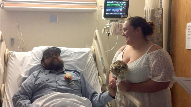 Timothy Berty, 25, and Jessica Berty (nee Dhans) , 30, getting married in hospital