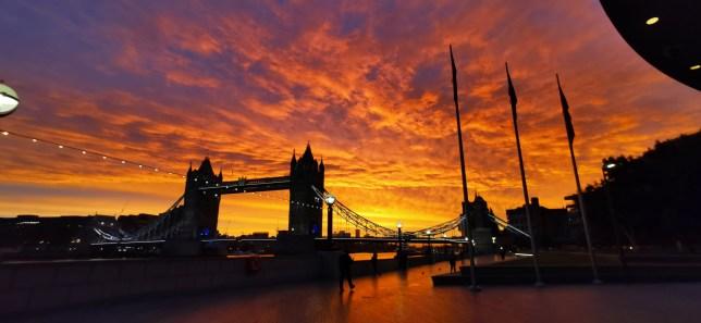 Sunrise over Tower Bridge at around 7am this morning.