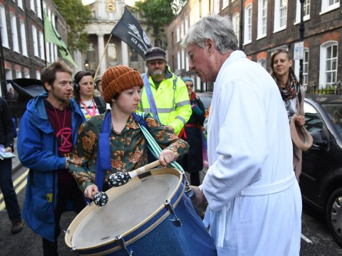 Tory lord wearing just a dressing gown and slippers takes on Extinction Rebellion