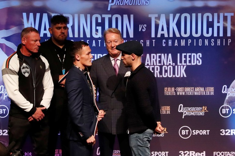 Boxing - Josh Warrington and Sofiane Takoucht Press Conference - The Carriageworks, Leeds, Britain - October 9, 2019 Promoter Frank Warren looks on as Josh Warrington and Sofiane Takoucht go head to head during the press conference Action Images via Reuters/Lee Smith