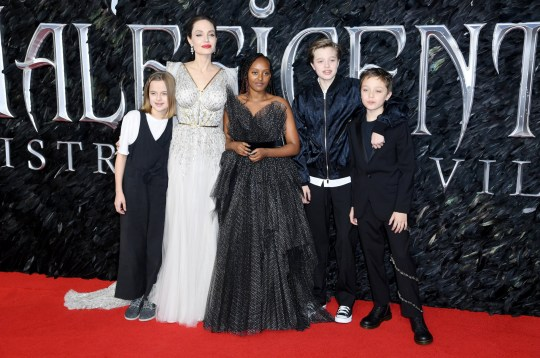 (left-right) Vivienne Marcheline Jolie-Pitt, Angelina Jolie, Zahara Marley Jolie-Pitt, Shiloh Nouvel Jolie-Pitt and Knox Leon Jolie Pitt attending the European premiere of Maleficent: Mistress of Evil, held at the Odeon IMAX Waterloo, in London. Picture credit should read: Doug Peters/EMPICS