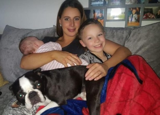 Stacey Donaldson, her son Camron, seven, and Olivia Margaret, nine weeks, with Ralph