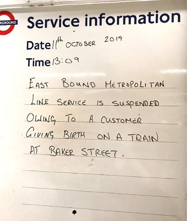 Woman gives birth on Metropolitan line picture: supplied metrograb