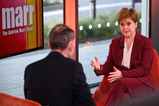 "Presenter Andrew Marr and First Minister of Scotland Nicola Sturgeon, during the Andrew Marr show. Nicola Sturgeon has told Jeremy Corbyn ""don't even bother picking up the phone"" to ask the SNP to support a Labour government unless he backs an independence vote. PA Photo. Picture date: Sunday October 13, 2019. Scotland's First Minister was asked if she would consider a coalition with Labour in the event of a general election that saw it emerge as the largest party, but without an overall majority. The SNP leader said she would favour a ""progressive type of alliance"" if the Tories were ousted from power. She told the BBC's Andrew Marr Show: ""But I say this to Jeremy Corbyn or any Westminster leader who's looking to the SNP for support, if you don't accept Scotland's right to choose our own future at a time of our own choosing, don't even bother picking up the phone to me."" See PA story POLITICS Sturgeon. Photo credit should read: Jeff J Mitchell/PA Wire"