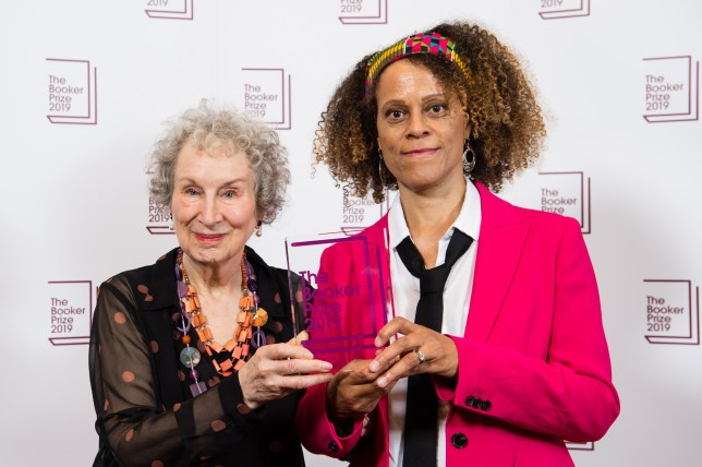 LONDON, ENGLAND - OCTOBER 14: (L-R) Joint winners Margaret Atwood and Bernadine Evaristo during 2019 Booker Prize Winner Announcement photocall at Guildhall on October 14, 2019 in London, England. (Photo by Jeff Spicer/Getty Images)