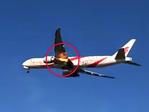 Flames shoot out of plane's engine moments after take-off