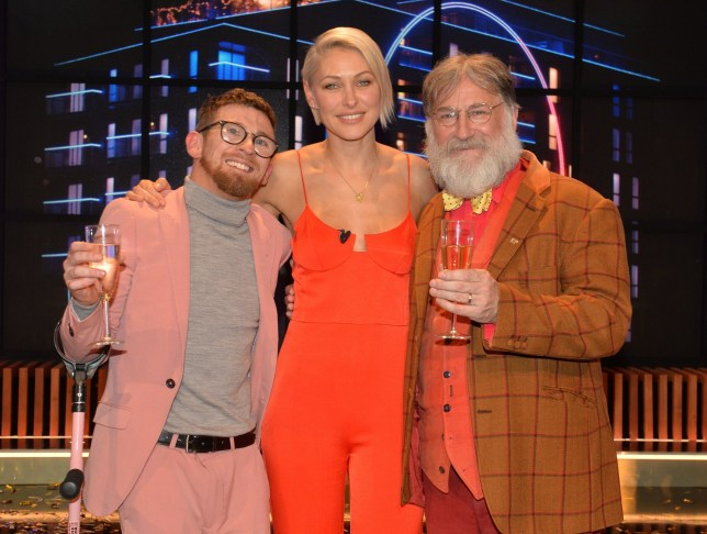 Winner Paddy Smyth, host Emma Willis and Viewer's Champion Tim Wilson celebrate after the final of the second series of Channel 4's The Circle