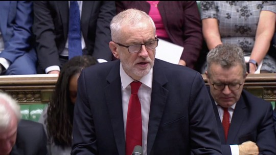 Britain's opposition Labour Party Leader Jeremy Corbyn speaks at the House of Commons as parliament discusses Brexit, sitting on a Saturday for the first time since the 1982 Falklands War, in London, Britain, October 19, 2019, in this screen grab taken from video. Parliament TV via REUTERS