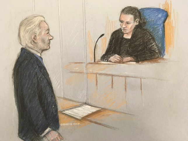 Court artist sketch by Elizabeth Cook of Julian Assange facing District Judge Vanessa Baraitser at Westminster Magistrates' Court in London for a case management hearing relating to his extradition to the United States over allegations that he conspired to break into a classified Pentagon computer. PA Photo. Picture date: Monday October 21, 2019. See PA story COURTS Assange. Photo credit should read: Elizabeth Cook /PA Wire