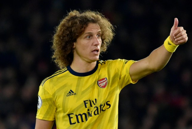 David Luiz gives the thumbs up while playing for Arsenal against Sheffield United