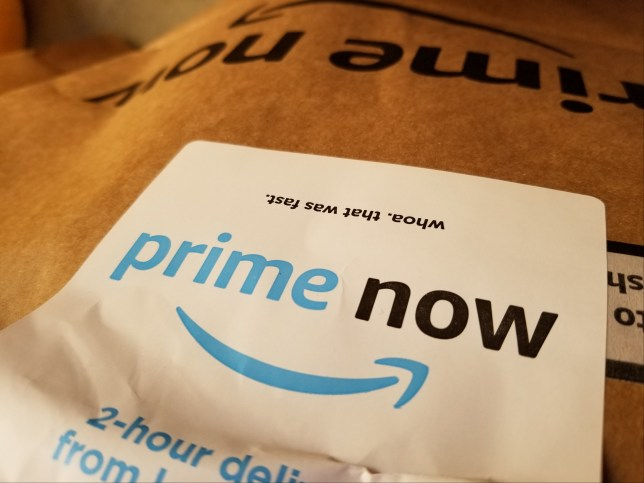 Close-up of bag with logo for the Prime Now short-term delivery service of Amazon Prime, San Ramon, California, November 7, 2018. (Photo by Smith Collection/Gado/Getty Images)