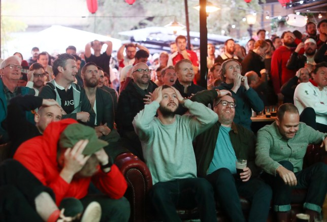 Fans watch England vs New Zealand in the rugby world cup in London