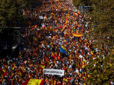 Tens of thousands march in Barcelona calling for Spanish unity