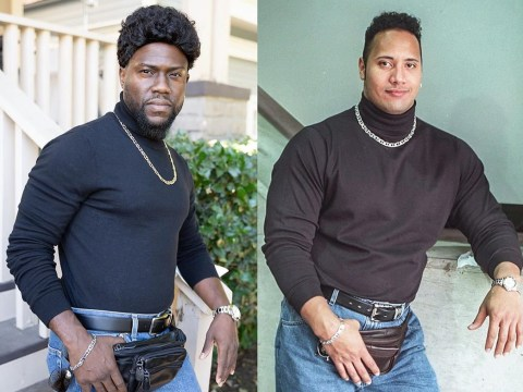 Kevin Hart recreates Dwayne Johnson's famous fanny pack photo for Halloween and it's a sight to behold