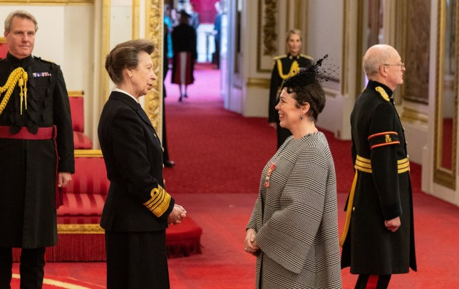 Actress Olivia Colman (real name Sarah Sinclair) receives a CBE (Commander of the Order of the British Empire) from the Princess Royal during an investiture ceremony at Buckingham Palace. PA Photo. Picture date: Thursday October 31, 2019. See PA story ROYAL Investiture. Photo credit should read: Dominic Lipinski/PA Wire