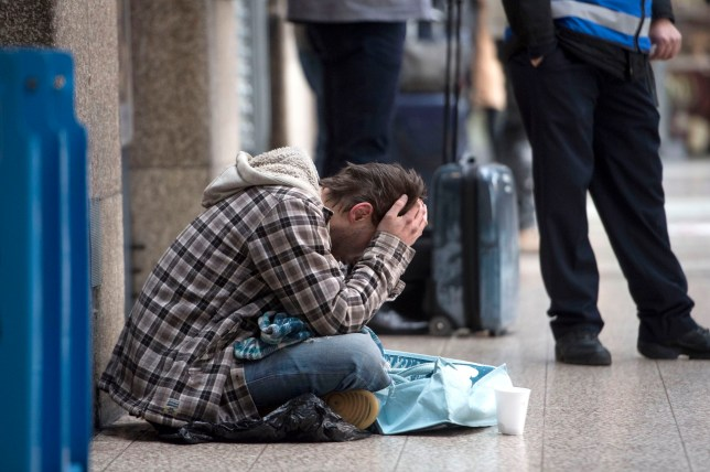 File photo dated 25/01/18 of a homeless person outside Victoria Station in London, as new figures suggest that more people are sleeping rough on the streets of England than at any point this decade.