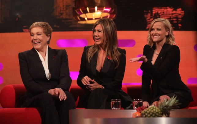 (left to right) Julie Andrews, Jennifer Aniston and Reese Witherspoon during the filming for the Graham Norton Show at BBC Studioworks 6 Television Centre, Wood Lane, London, to be aired on BBC One on Friday evening. PA Photo. Picture date: Thursday October 31, 2019. Photo credit should read: PA Images on behalf of So TV