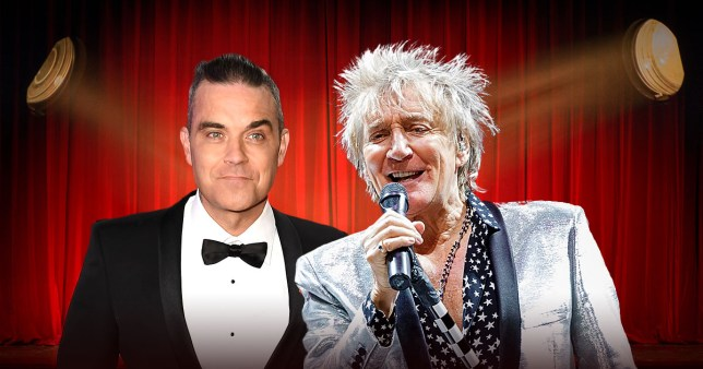 Robbie Williams and Rod Stewart