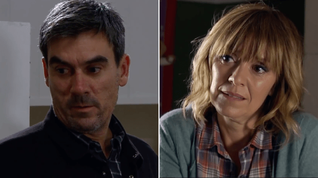 Cain Dingle and Rhona Goskirk in Emmerdale