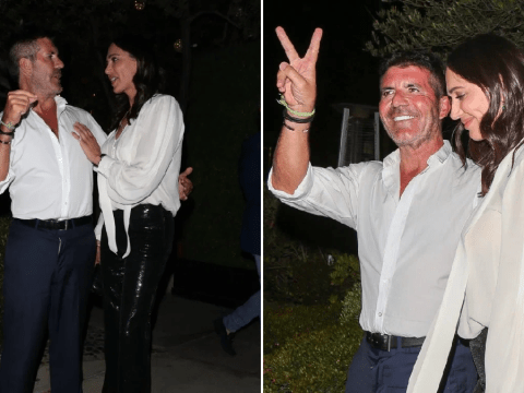 Simon Cowell is one happy chap as he cosies up to Lauren Silverman on date night without 5-year-old son Eric