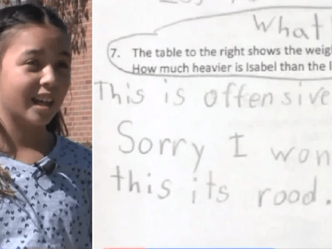 Outraged schoolgirl, 9, refuses to answer 'offensive' homework question about fictional child's weight