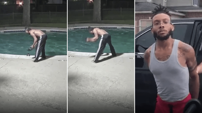 Grabs of cat being tortured in swimming pool next to grab of alleged abuser Javonte Alexander