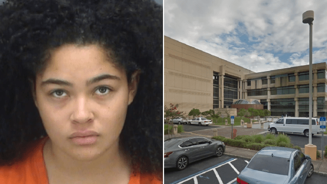 Mugshot of Erica Charles next to file photo of Pinellas County Jail