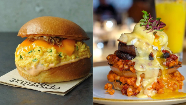 Split image of two egg dishes from Eggslut and The Table Cafe