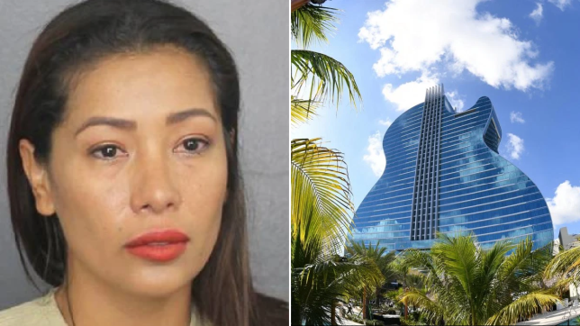 Mugshot of Sintia Pinagrote next to file photo of Hard Rock Hotel in Hollywood, Florida