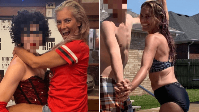 Photo of Alisa Andrews posing with a Rocky Horror Show character, next to photo of herself enjoying the garden in a bikini