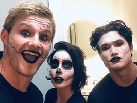 Alexander Ludwig swaps Vikings look for Day of the Dead as he trick or treats with Bad Boys For Life cast
