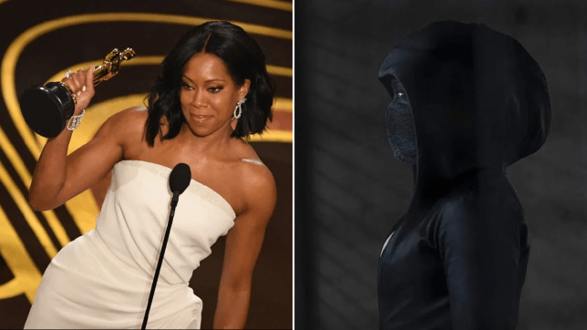 Regina King accepting academy award and in Watchmen