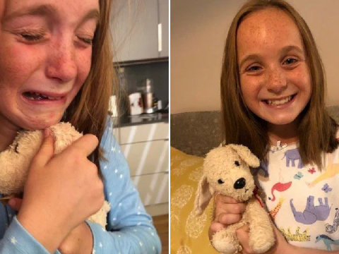 Girl bursts into tears as she's reunited with her lost teddy she left thousands of miles away